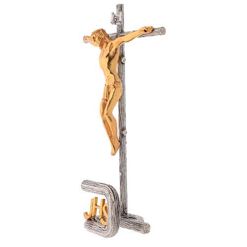 Cruz de altar plateada de latón fundido h. 32 cm 3
