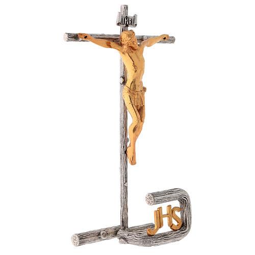 Cruz de altar plateada de latón fundido h. 32 cm 5
