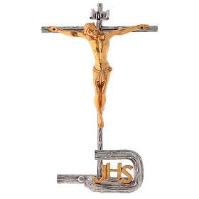 Croce da mensa argentata in ottone fuso h. 32 cm s1