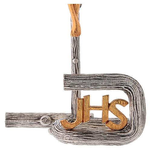 Croce da mensa argentata in ottone fuso h. 32 cm 4