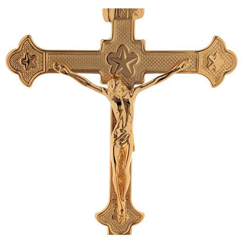 Croix d'autel laiton doré 24k décoration étoiles 2