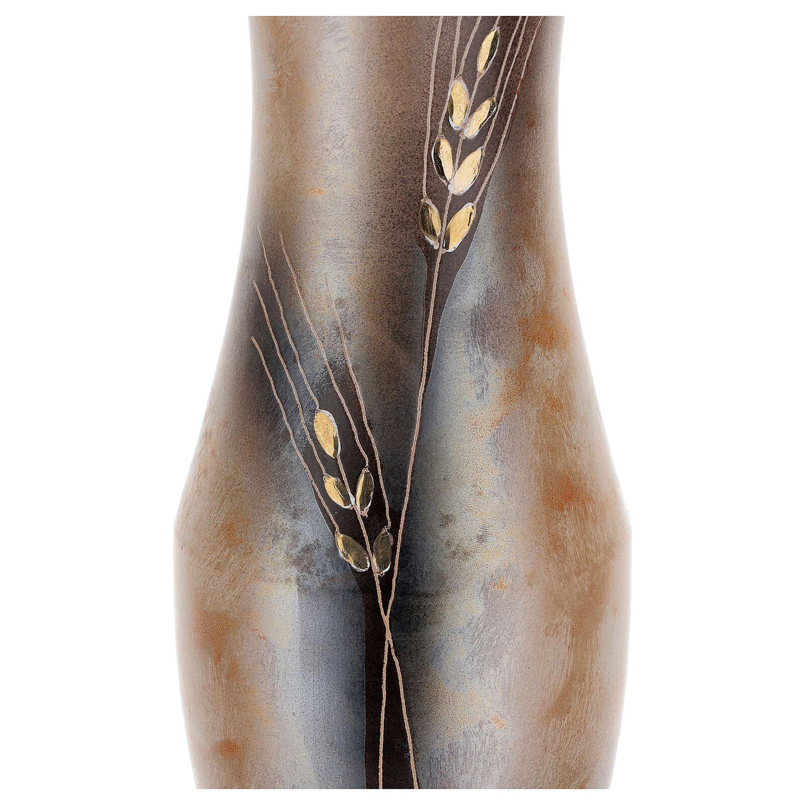 Vaso portafiori ceramica Pompei decoro spiga dorata 4