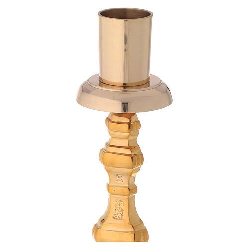 Altar candlestick height 40 cm golden brass replaceable tip 3