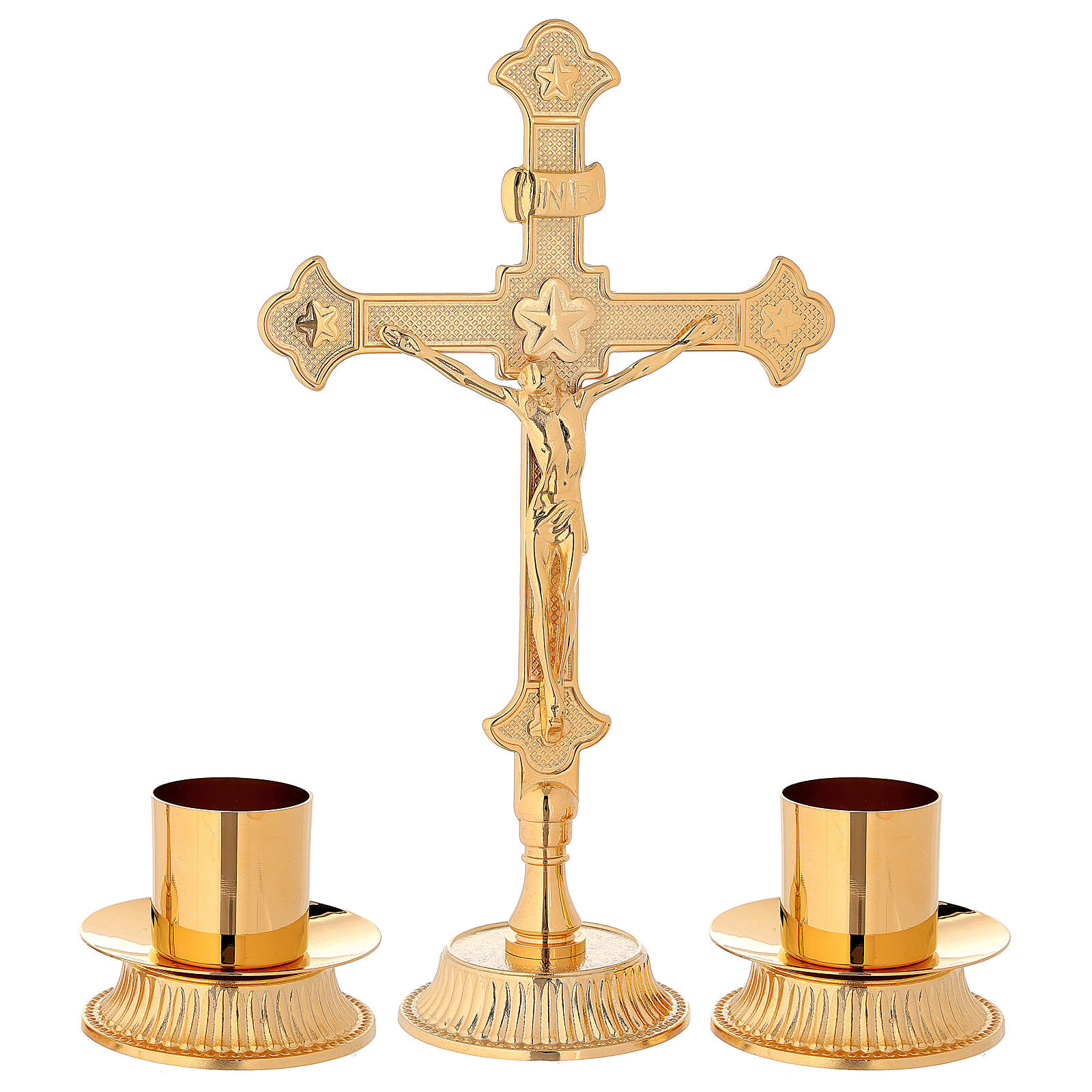 Altar set with Cross and candle-bases in brass 4