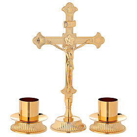 Altar set with Cross and candle-bases in brass s1