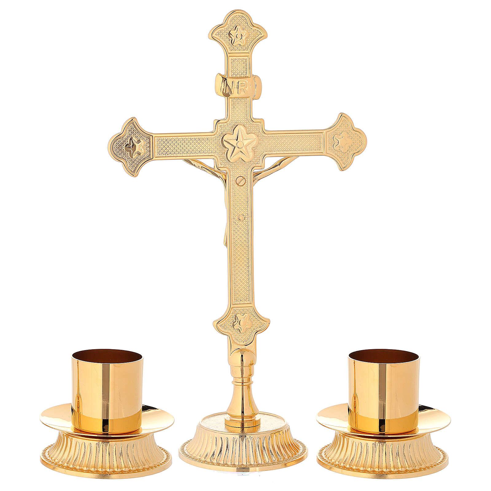 Servicio de altar cruz candeleros latón dorado 4