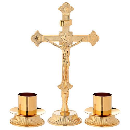 Servicio de altar cruz candeleros latón dorado 1
