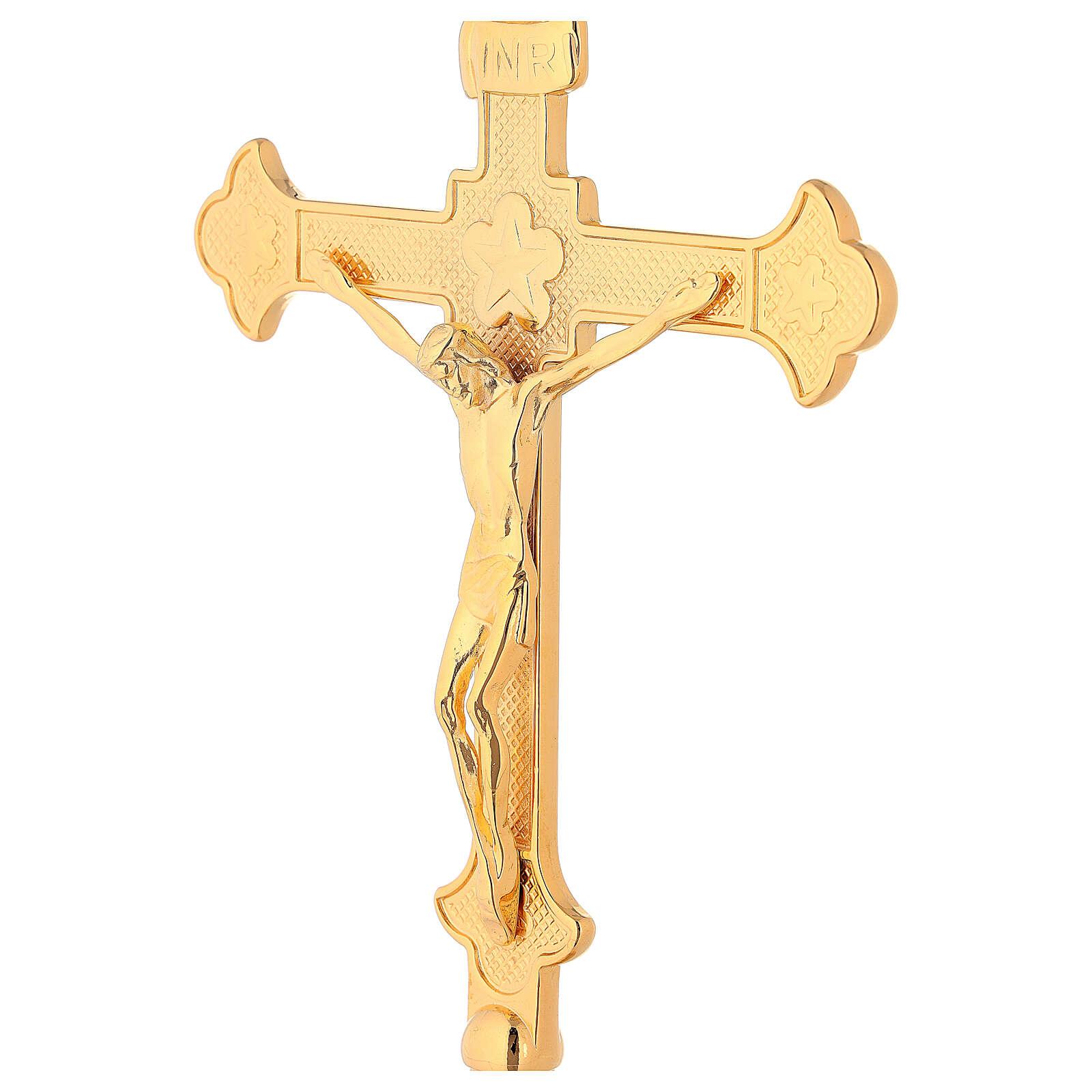 Conjunto para altar cruz e castiçais latão dourado 4