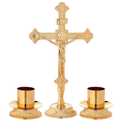 Conjunto para altar cruz e castiçais latão dourado 1