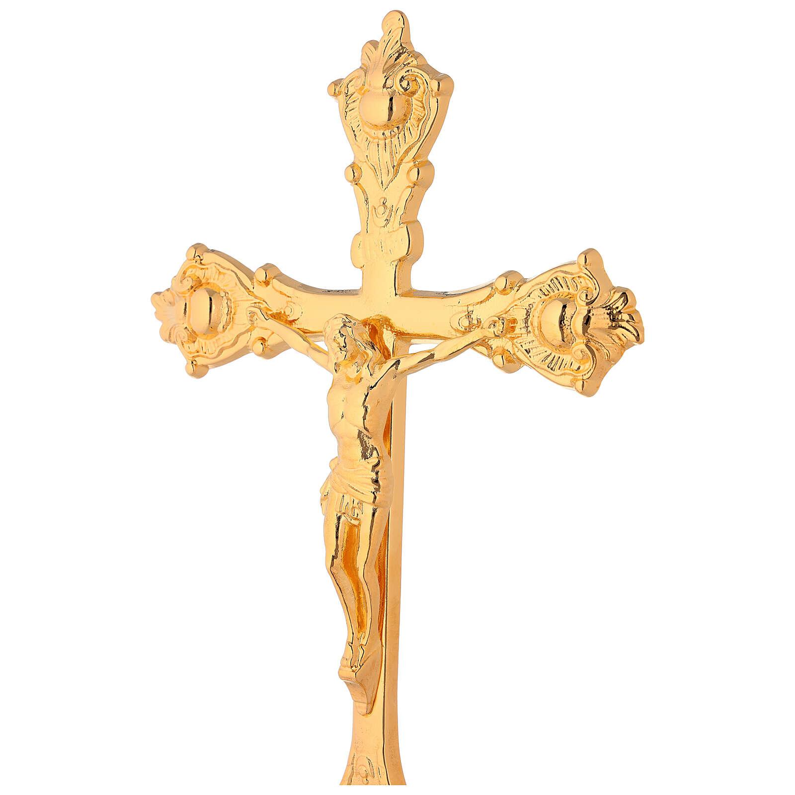 Conjunto para altar cruz e castiçais latão dourado base lisa 4