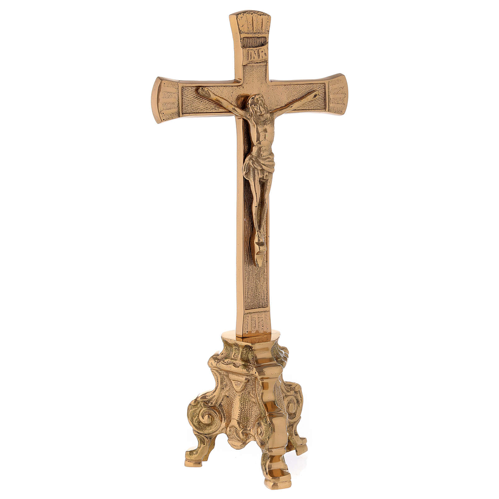 Cruz de altar base barroca latón dorado h 26 cm 4
