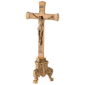 Cruz de altar base barroca latón dorado h 26 cm s3
