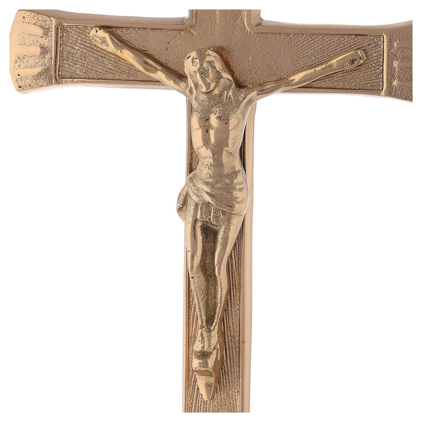 Croix pour autel base baroque laiton doré h 26 cm 4