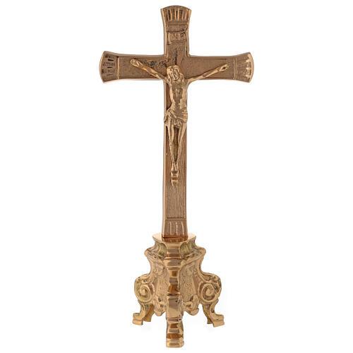 Croix pour autel base baroque laiton doré h 26 cm 1