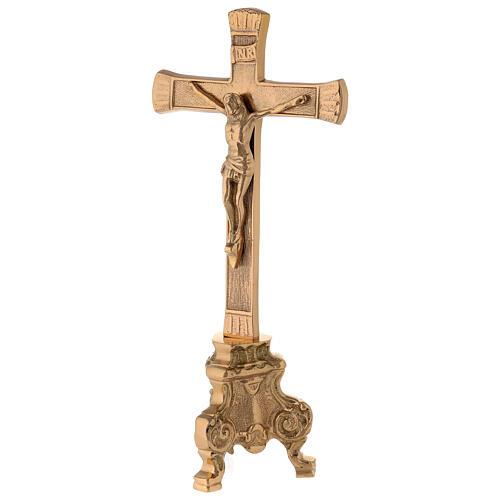 Croix pour autel base baroque laiton doré h 26 cm 3