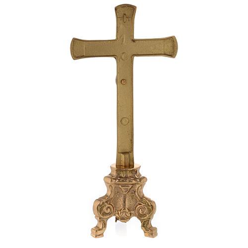 Croix pour autel base baroque laiton doré h 26 cm 5
