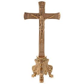 Croce per altare base barocca ottone dorato h 26 cm s1