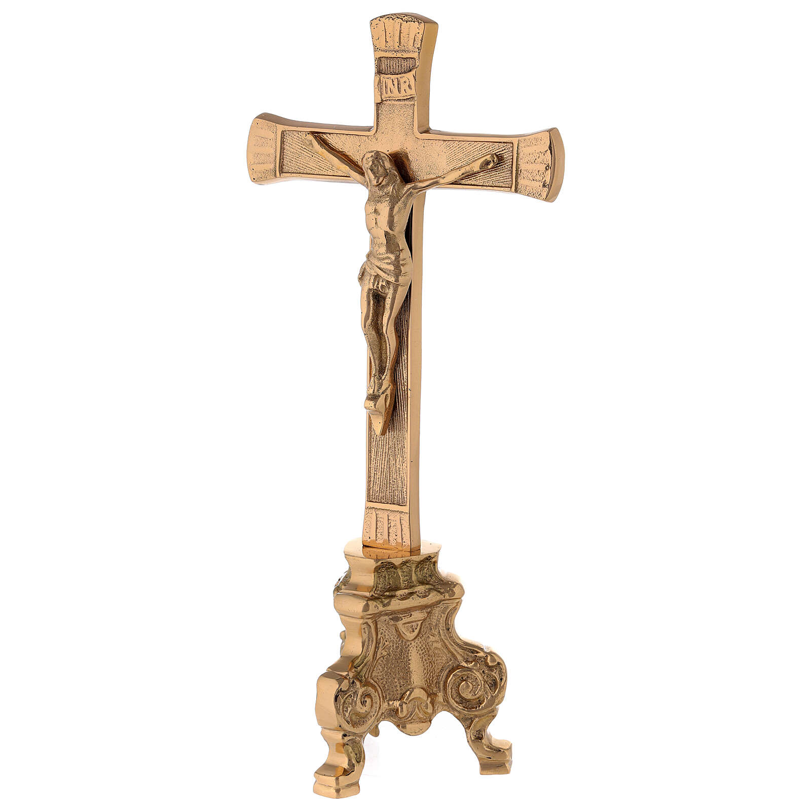 Gold plated altar cross with baroque foot h 10 in 4