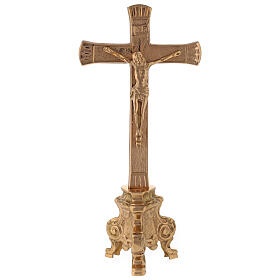 Gold plated altar cross with baroque foot h 10 in s1