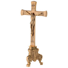Gold plated altar cross with baroque foot h 10 in s3