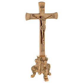 Gold plated altar cross with baroque foot h 10 in s4