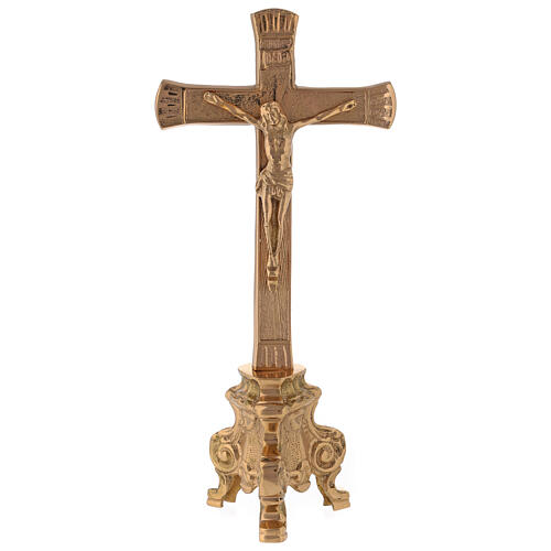 Gold plated altar cross with baroque foot h 10 in 1