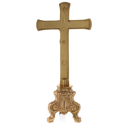 Gold plated altar cross with baroque foot h 10 in 5