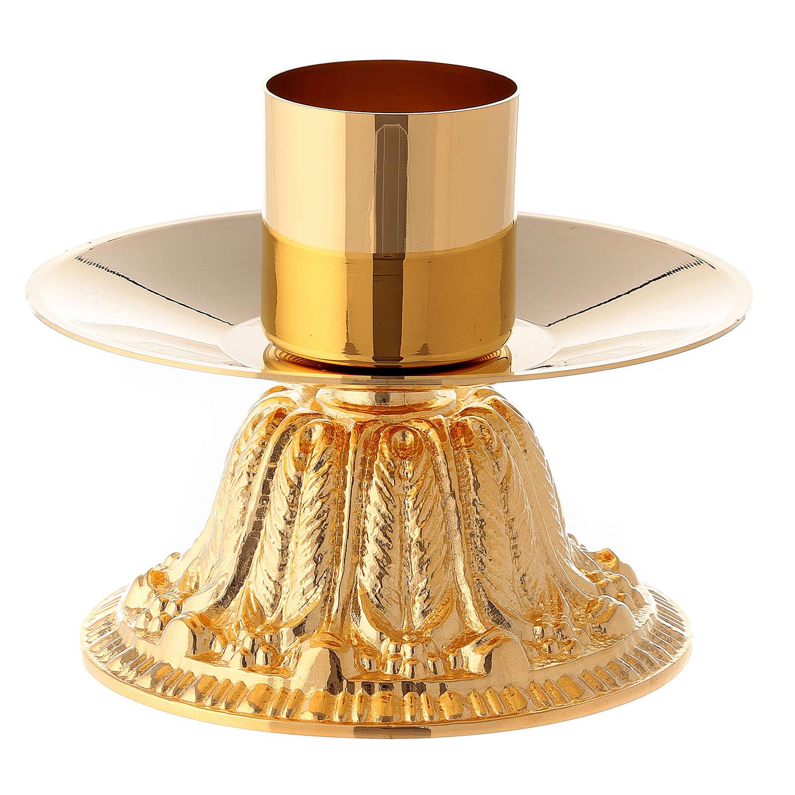 Croce da altare con candelieri base fiorata ottone 4