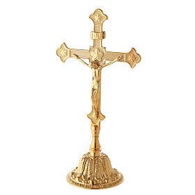 Croce da altare con candelieri base fiorata ottone s2