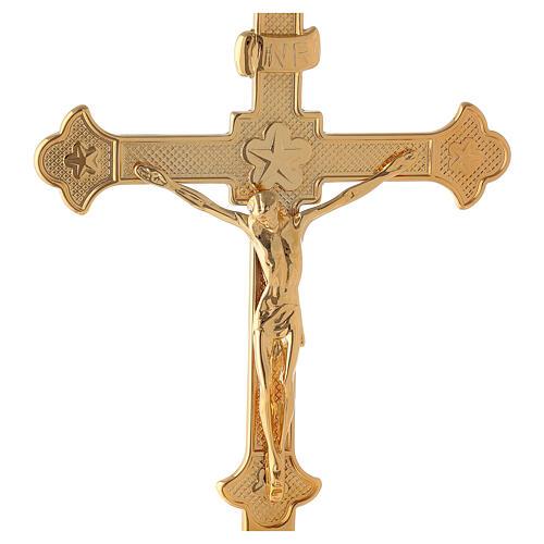 Croce da altare con candelieri base fiorata ottone 3