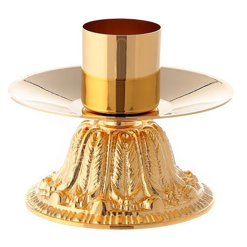 Croce da altare con candelieri base fiorata ottone 6