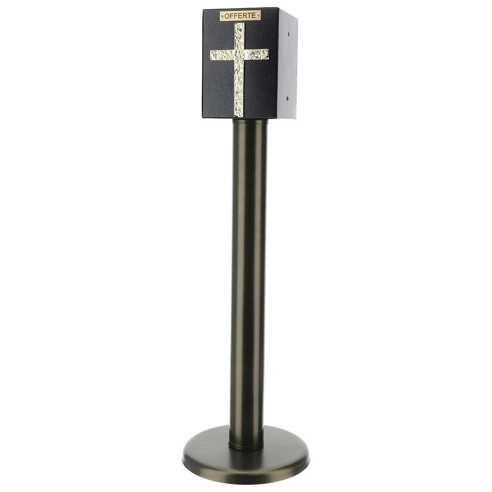 Columna para ofrendas iglesia bronceada con caja blindada 4