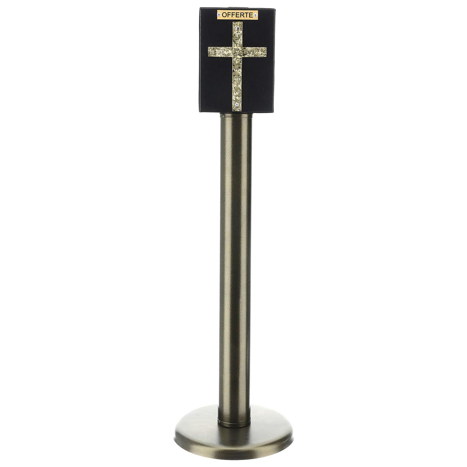 Tronc d'église métal effet bronze avec coffre blindé 4