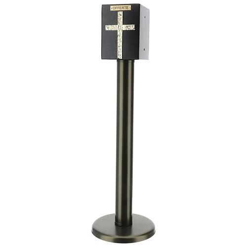 Tronc d'église métal effet bronze avec coffre blindé 1