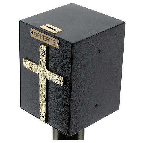 Tronc d'église métal effet bronze avec coffre blindé 2