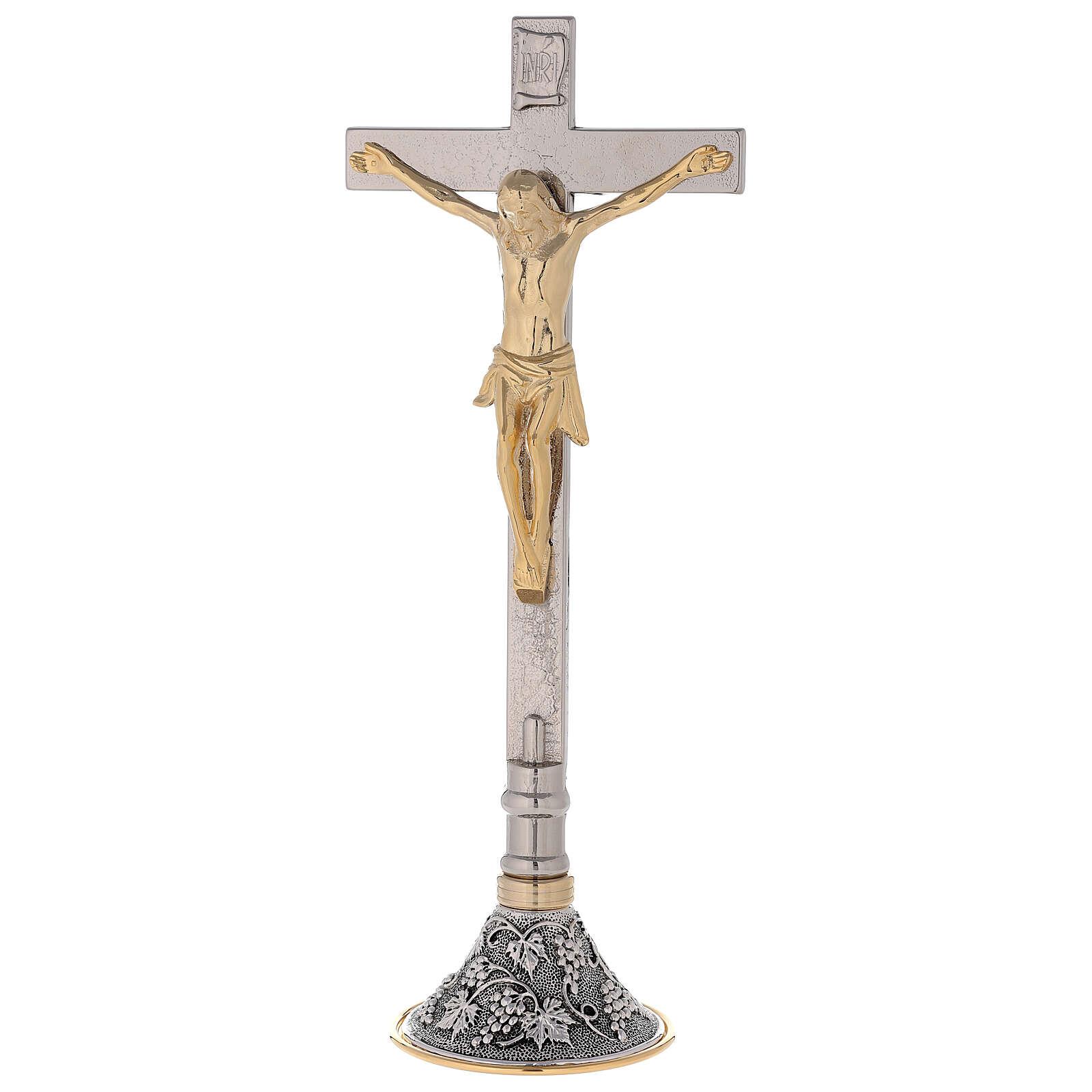 Croix avec chandeliers d'autel base raisin et feuilles 4