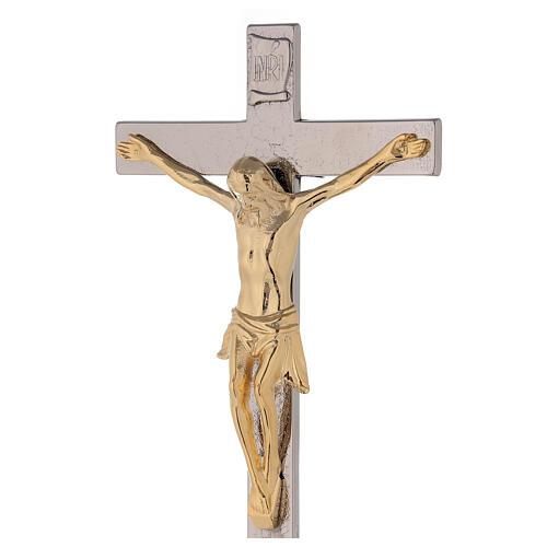 Croix avec chandeliers d'autel base raisin et feuilles 2