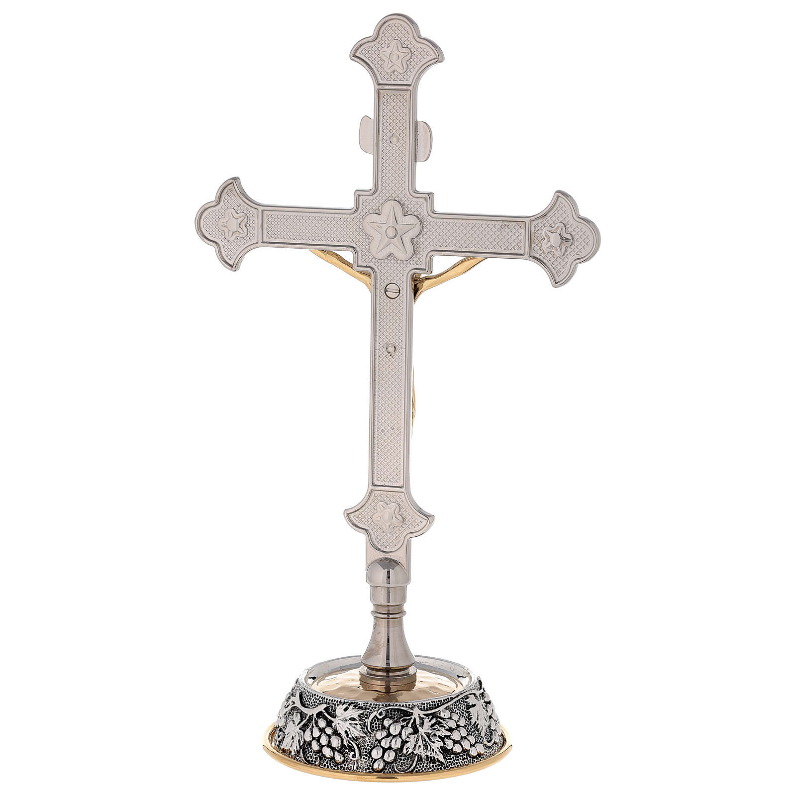 Altar crucifix grapes and leaves on the base with candlesticks 4