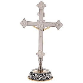 Altar crucifix grapes and leaves on the base with candlesticks s8