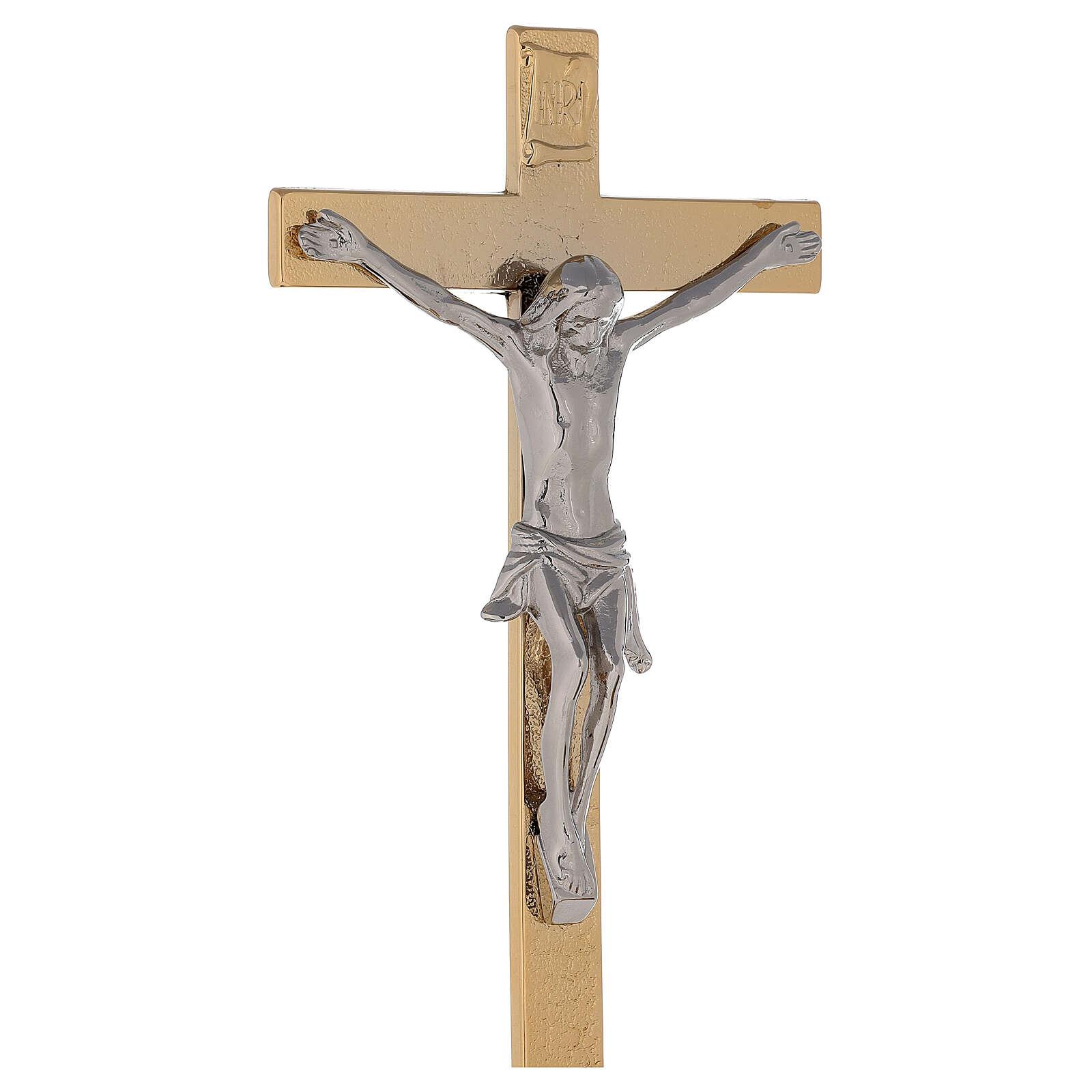 Cruz altar con base latón dorado 24k nudo espigas candeleros 4
