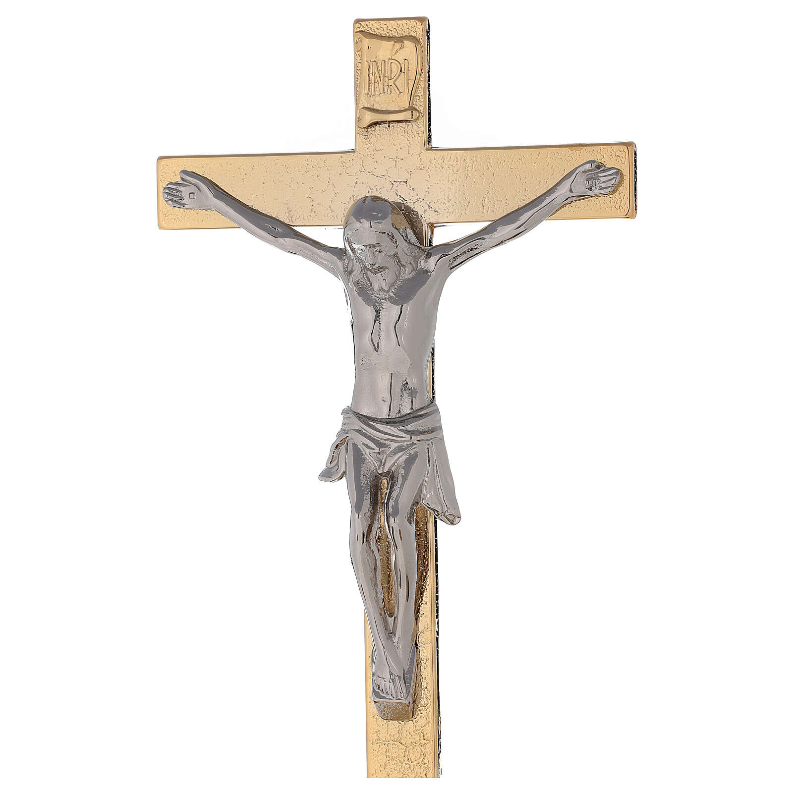 Croce altare su base ottone dorato 24k nodo spighe candelieri 4