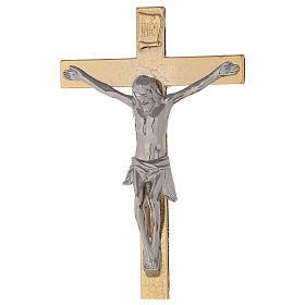 Croce altare su base ottone dorato 24k nodo spighe candelieri s4