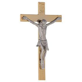 Croce altare su base ottone dorato 24k nodo spighe candelieri s5