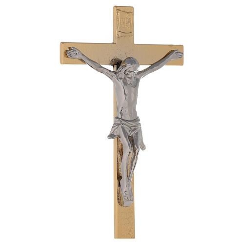 Croce altare su base ottone dorato 24k nodo spighe candelieri 5