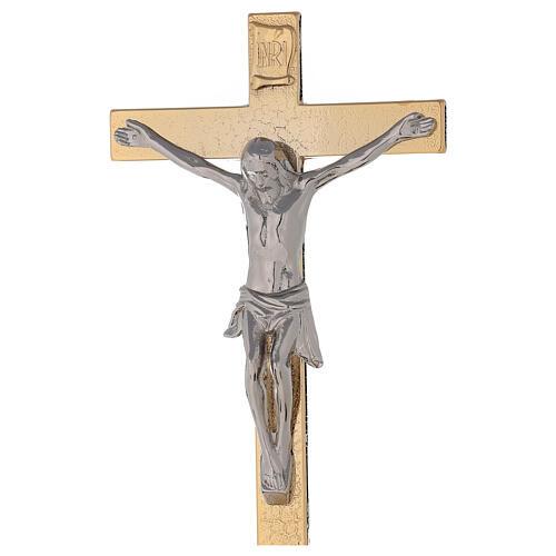 Altar crucifix on 24-karat gold plated brass base spikes on node and candlesticks 4
