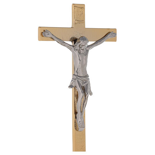 Altar crucifix on 24-karat gold plated brass base spikes on node and candlesticks 5