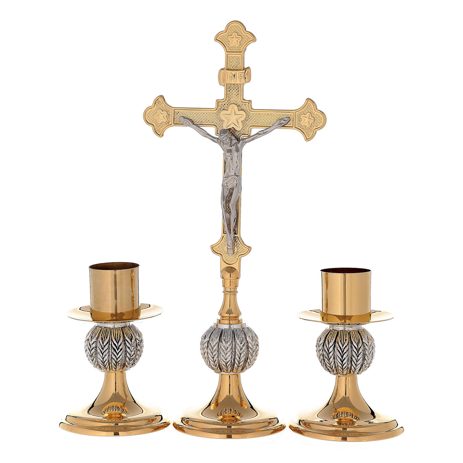 Cruz altar nudo espigas latón dorado 24k con candeleros 4