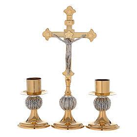 Cruz altar nudo espigas latón dorado 24k con candeleros s1