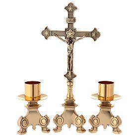 Cruz de altar con candeleros latón dorado 35 cm s1