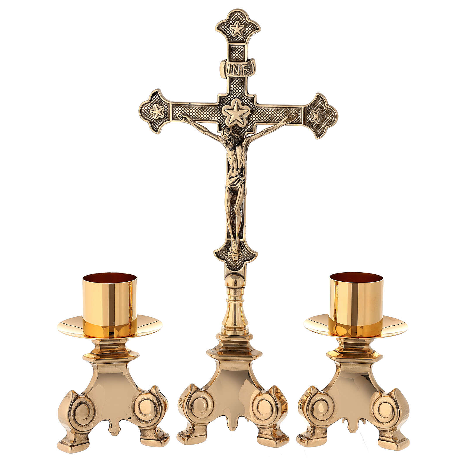 Croce da altare con candelieri ottone dorato 35 cm 4